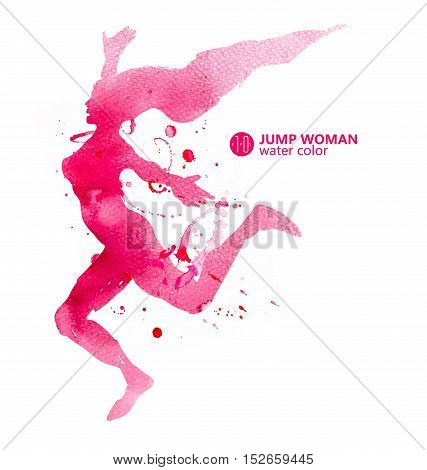 Woman jump,  Watercolor material, Positive, vector illustrations.