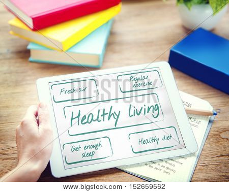 Healthy Living Wellness Diet Exercise Words Graphic Concept
