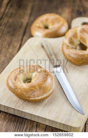 Fresh Baked Bagels On A Wooden Table