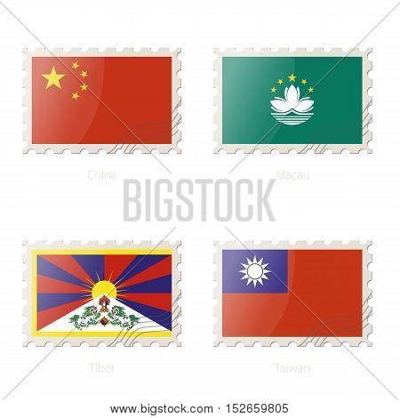Postage Stamp With The Image Of China, Macau, Tibet, Taiwan Flag.