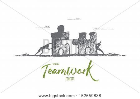 Vector hand drawn team concept sketch. Two men moving puzzle pieces towards each other to assemble it. Lettering Teamwork concept