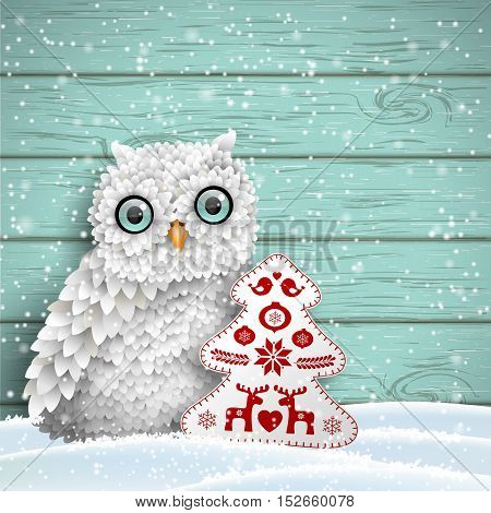 Cute white owl sitting in snow in front of blue wooden wall with abstract decoration in shape of tree, winter holiday theme, vector illustration, eps 10 with transparency