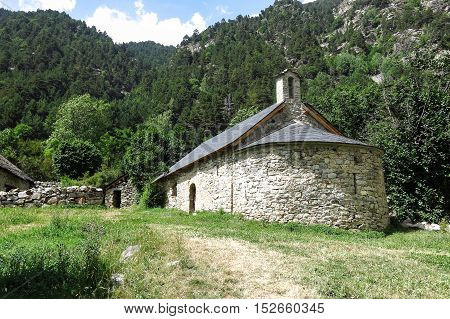 Small Romanesque Chapel In The Pyrenees. Catalonia, Spain