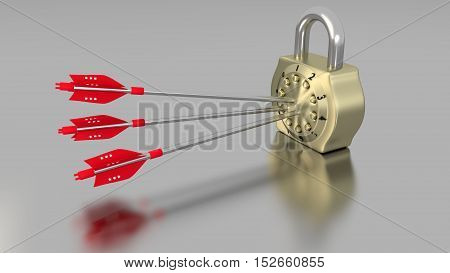 Golden number padlock on a chrome table hit by three arrows with computer bug texture cybersecurity concept 3D illustration