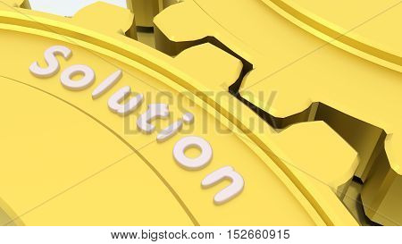 Two connected gears in gold on a silver floor with the word solution engraved 3D illustration