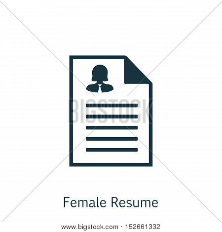 Vector Illustration Of Human Resources Symbol On Female Resume Icon. Premium Quality Isolated Female