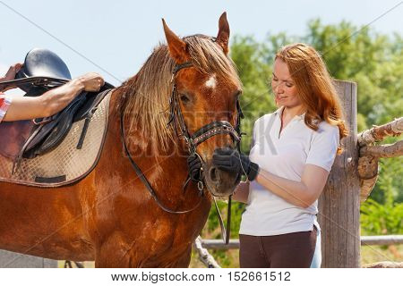 Portrait of beautiful young woman and her bay horse, standing next to the enclosure fence at sunny day