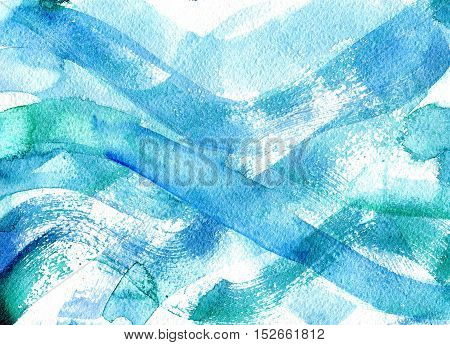 Grunge watercolor background. Blue waves made in dry brush technique. Paper texture