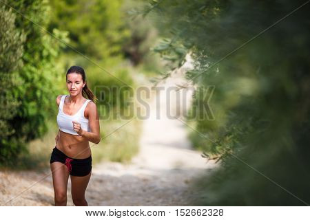 Beautiful young female runner on a forest path, on a lovely summer day
