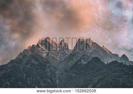beauty pink sunset on himalaya mountain, toned like Instagram filter