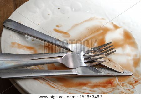 Dirty Dinner Plates And Cutlery Ready To Be Washed Up