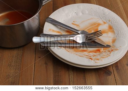 Dirty Dinner Plates And Saucepan Ready To Be Washed Up