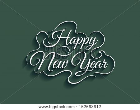 Beautiful lettering calligraphy elegant yellow text design. Calligraphy inscription Happy New Year on a green background. Vector illustration EPS 10