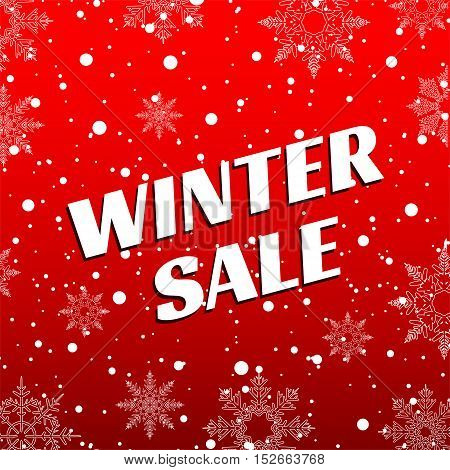Winter sale. Christmas Sale. New year sale. White snow with snowflakes on a red background banner vector