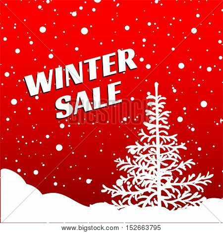 Winter sale. Christmas Sale. New year sale. White spruce and snow with snowflakes on a red background banner vector