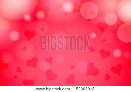 Happy Valentine's Day hearts bokeh blurred on a red pink background sale card. Vector illustration EPS 10