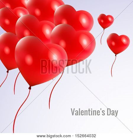 Happy Valentine's Day card with red pink realistic banner balloons in form of heart isolated on white background. Vector illustration EPS 10