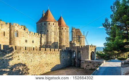 View at the fortified Old City Carcassonne in France
