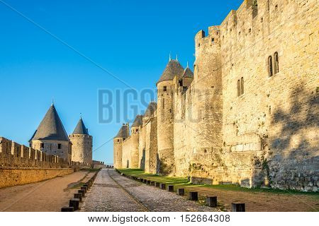 The tilt yard and external ramparts in Old City of Carcassonne