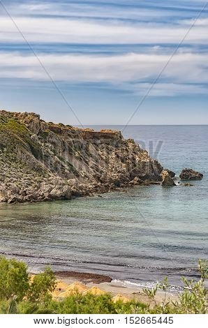 A view of cliffs at Makrygialos on the Greek island of Crete.