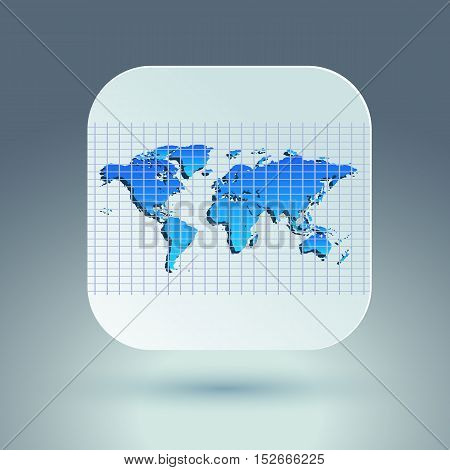 Map icon for application on grey background. Grid. Vector illustration.