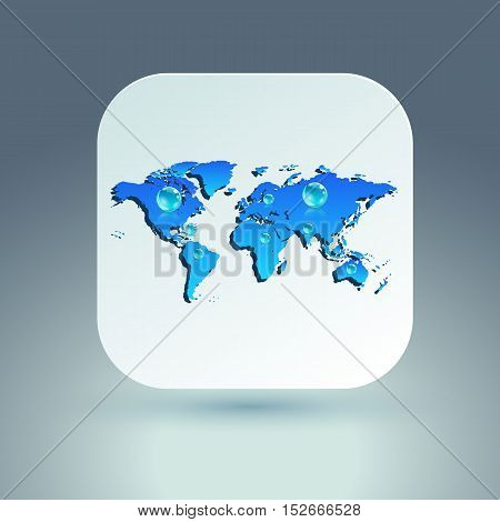 Map icon for application on grey background. Vector illustration.