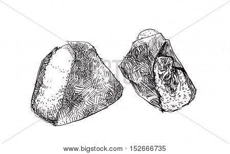 Onigiri Sketch Doodle Illustration. Japanese Triangle Rice Ball