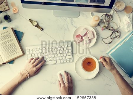 Woman Connecting Computer Online Shopping Concept