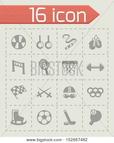 Vector Sport icon set on grey background