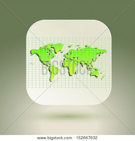 Map icon for application on air background. Grid. Vector illustration.