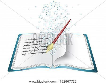 Vector magic book with pen - original web icon