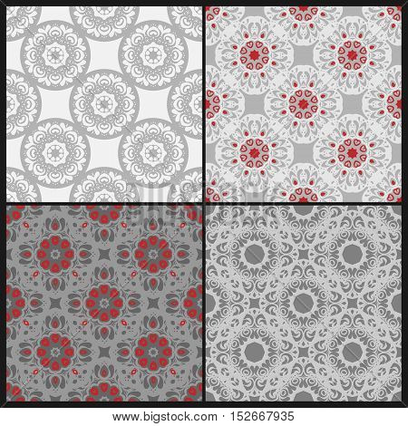 Floral vector seamless fgrey and red decorative patterns set. Wrapping, tiling. Vector backgrounds collection. Graphic texture ornaments for design. Eps10