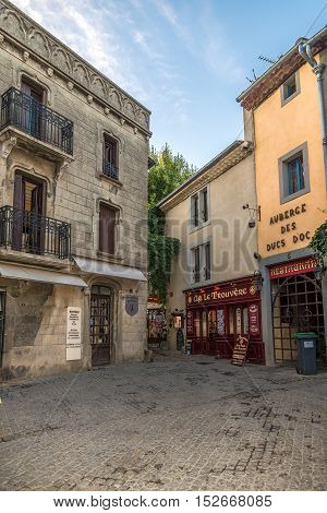 CARCASSONNE,FRANCE - AUGUST 30,2016 - In the streets of Old City of Carcassonne. Carcassonne is a fortified French town in the Aude department.