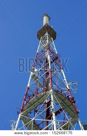 Digital television Tower painted under blue sky