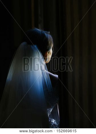 Sexy cute pretty woman or girl bride with veil in hair stands back on dark background