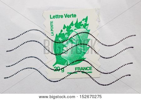PARIS FRANCE - DEC 30 2013: Postage stamp with National Symbol of France - Marianne issued by La Poste National Postl service of France