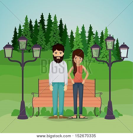 Couple of woman and man cartoon in park. Relationship family romance and love theme. Landscape background. Vector illustration
