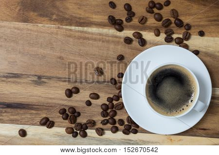 Espresso concept background on wood picture background