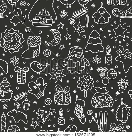 Backgrounds with icons for New Year Christmas winter. A vector.