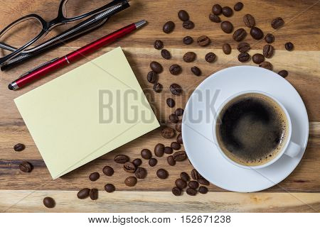 Espresso With Notepad Concept Background On Wood