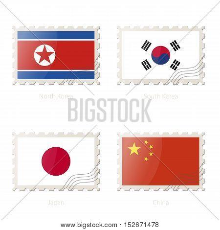 Postage Stamp With The Image Of North Korea, South Korea, Japan, China Flag.