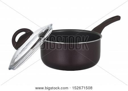 Brown stainless steel saucepan isolated on white background