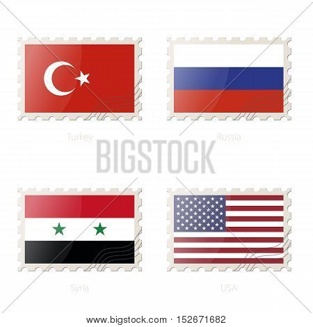Postage Stamp With The Image Of Turkey, Russia, Syria, Usa Flag.