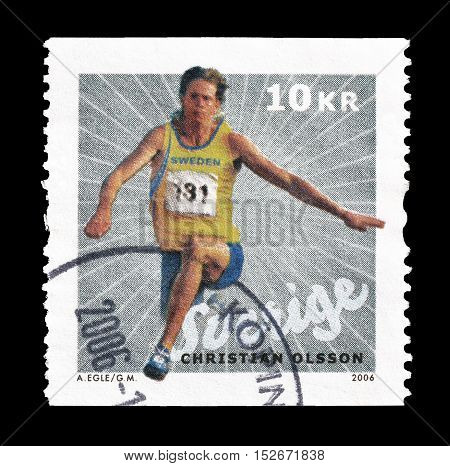 SWEDEN - CIRCA 2006 : Cancelled postage stamp printed by Sweden, that shows Christian Olsson.