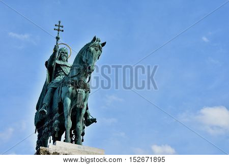 Bronze equestrian statue of Saint Stephen King of Hungary erected in 1906 in Fisherman's Bastion Square in Budapest (with copy space)