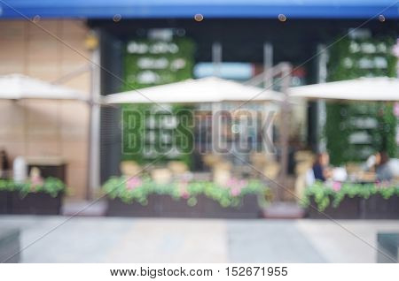 abstract background of seatings on shopping street