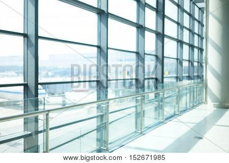 Abstract Background Of Indoor Space Behind Glass Wall