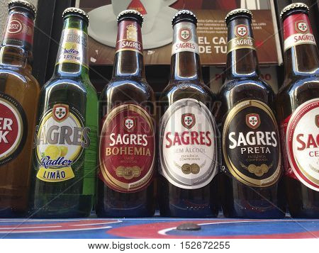 Badajoz Spain - May 22 2016: Best selling portuguese beers over terrace table outdoors
