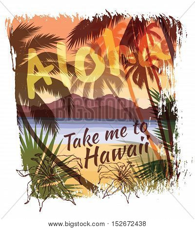 Tropical Summer Print With Slogan For T-shirt Graphic And Other Uses.