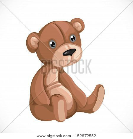 Toy teddy bear sit on floor isolated on white background